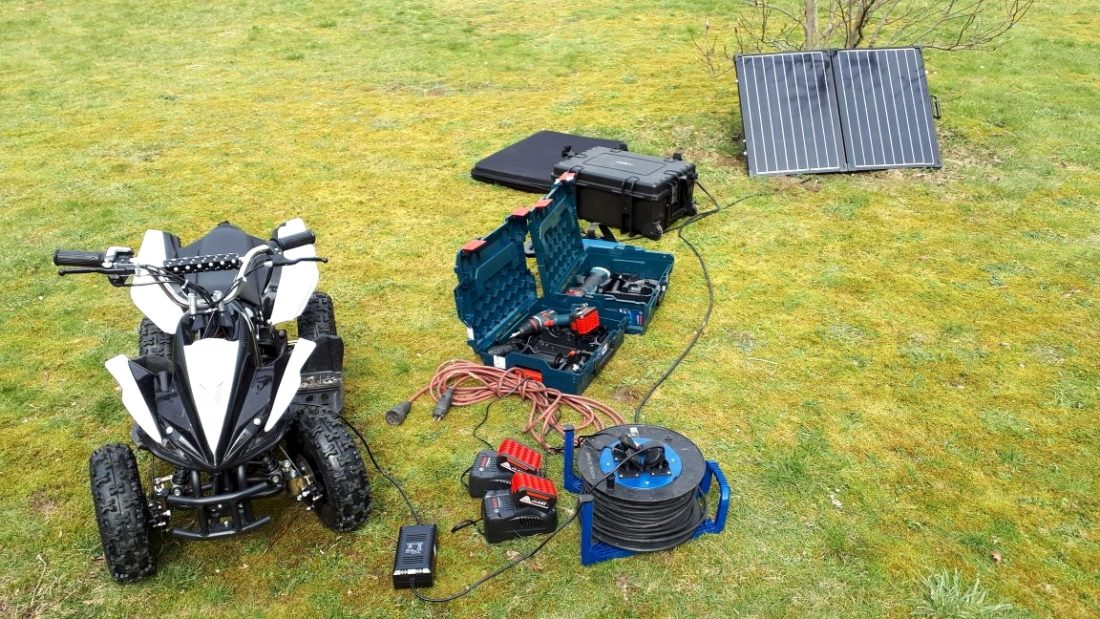 Mobile recharging of battery-operated tools and leisure items